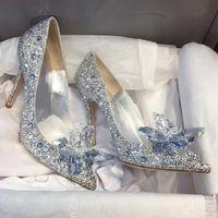 Горячие Продажа-Новый горный хрусталь Высокие каблуки Золушка обувь Женщины насосы Остроконечные ног Женщина Кристалл партии Свадебная обувь