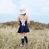 2019 Nuevos niños traje de baño niñas Arcos traje de baño sin espalda + falda de baño + Arcos falbala sombrero 3pcs conjuntos niños SPA traje de baño de playa Y1515