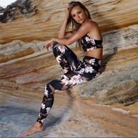 النساء 2 قطعة اليوغا مجموعة رياضة للياقة البدنية الملابس الزهور طباعة البرازيلي سروال + طويل تشغيل الجوارب الركض تجريب اليوجا اللباس الرياضة دعوى