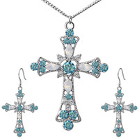 Zircon Cross Necklace Earrings Jewelry Sets For Women Ancien...