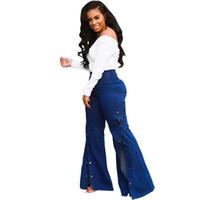 جينز المرأة أزياء المرأة سستة عالية الخصر واسعة الساق فضفاض سبليت جيوب السراويل حزب الزرقاء الديكور زائد الحجم الدينيم