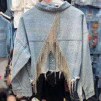 LANMREM 2020 весна Новых Повседневных моды Темперамент женщины пальто Сыпучей Plus инкрустированного Rhinestone кисточка Назад Split Denim Jacket TC753 CY200515