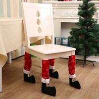 산타 클로스 다리 의자 발은 홈 크리스마스 의자 커버 당사자가 T2I5580 소품에 대한 사랑스러운 테이블 장식 크리스마스 장식을 커버