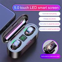 F9 TWS Touch Control fone de ouvido Bluetooth com Ecrã 5.0 sem fio LED Headphone Com 2000mAh Power Bank Headset com microfone para todos os telefones