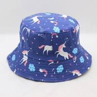 28b54e8a4b29 LDSLYJR Cartoon pferd drucken Eimer Hut Fischer Hut im freien reise hut Sun  Cap Hüte für