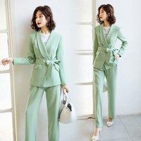 De nouvelles élégantes vert Blazer femme costumes Ensembles deux pièces de femmes Costumes Pantalon Pantalon femme pour les femmes costume de bureau
