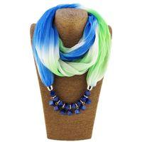 Granos coloridos de gasa bufanda collar para las mujeres de moda las mujeres bufandas con collares bufanda de otoño colgante de joyería de moda
