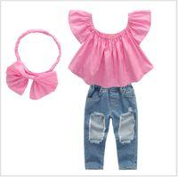 2019 Filles Enfants Designer Vêtements Ensembles Mode Été Fashion Girls Vêtements costume Blouse rose + trou Jeans + bandeau 3pcs Set pour enfants Vêtements