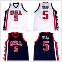 JJASON KIDD # 5 Equipe EUA Retro Basquetebol Jersey Masculino Costume Personalizado Qualquer Número Nome Jerseys Top Quality