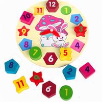 خشبية على مدار الساعة أرنب الأطفال التعليم لغز لعب ساعة رقمية خشبية بانوراما لعبة الهندسة زرع لعب لغز الرقمي الشحن المجاني