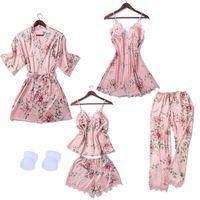 여성 잠옷 5 개 공단 잠옷 Pijama 실크 홈 가슴 패드와 홈 의류 자수 수면 라운지 파자마를 착용