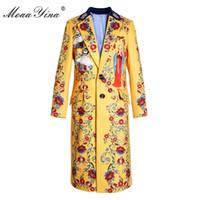 MoaaYina Moda Pist Yün coat Kış Kadınlar Turn-aşağı Yaka Uzun kollu Melek Baskı Zarif sıcak tutmak gökyüzü sarı Palto