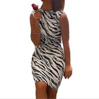 European and American women' s zebra print tight dress s...