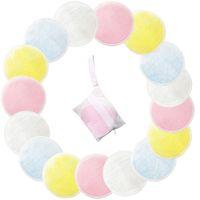 Almohadillas de algodón reutilizables de 20 piezas Maquillaje removedor facial Almohadillas de limpieza de doble capa Almohadillas de limpieza para arte de uñas Lavables con bolsa de lavandería