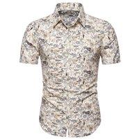 Fashsiualy Maschio Camicia Estate 2020 uomini Slim allentato Hawaii manica corta Stampato Turn-giù la camicia delle parti superiori Camisas Para Hombre