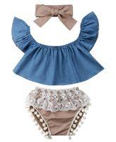 INS bebés Casual equipos lindos ropa del niño Conjunto dril de algodón Tops Trajes borla + Lace Shorts + arco de la venda 3pcs Y1936