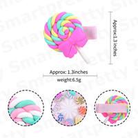 Neonate Barrettes svegli del polimero di Arcobaleno Lollipop Pin di Bobby principessa dell'arcobaleno tornante Kid colore della caramella della nube dei capelli Accessori E31201