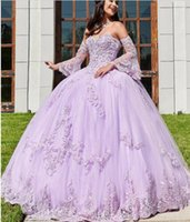 Popular Lavender Long Sleeves Quinceanera Dresses 2020 New L...