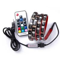 SMD 5050 RGB LED Strip DC 5V USB LED Black Light tiras flexíveis IP20 IP65 fita impermeável 1M 2M 3M 4M 5M Tiras para o fundo TV
