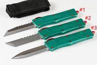 """MT A10 자동 전술 칼 D2 (3.8 """") 블레이드 T6061 항공 알루미늄 녹색 핸들 나일론 가방 및 수리 도구"""