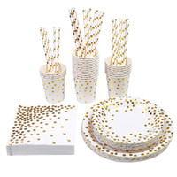 Gold Foil Party Tableware Party Pack Paper Plates Napkins Cu...