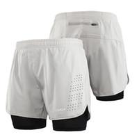Hombres de 2-en-1 Pantalones cortos para correr rápido secado y transpirable activo ejercicio de entrenamiento de jogging Pantalones cortos de ciclista con más larga Liner CS-S Y8253LGY
