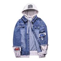 Kapşonlu Ceket Şık Kot Ceket Erkekler Sahte 2 adet Tasarım Demin Coat Nakış Kabanlar Erkekler Giyim Soğuk
