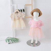 Vestidos de niña de alta calidad de verano, niña, linda, casual, niñas, churs, corbata de lazo, costura, gauze, falda, vestido de princesa