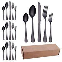 Alto grau de talheres de aço preto talheres Set Fork Faca Colher inoxidável colorido Dinnerware Set Talheres Louça Set 20pcs EEA1417-7