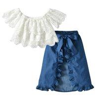 2020 Yaz Yeni Kız Prenses Kıyafetler Çocuk Etek Giyim Moda Çocuk Dantel Cap Sleeve ayarlar S201 + kot etek 2adet Suits Tops