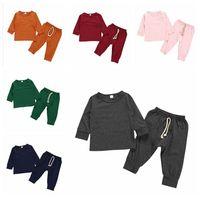 ملابس الطفل ملابس الاطفال القطن مجموعات بنين بنات الصلبة طويلة الأكمام أعلى السراويل الدعاوى ربيع الخريف الرياضة البدلة الأطفال عارضة homewear YP939