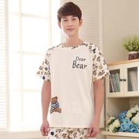 Мужские летние новых милых корейских 2019 хлопок с коротким рукавом шорты мужская молодость XL Pajamas Pajama Sets Mens Pajama набор мужчин спать