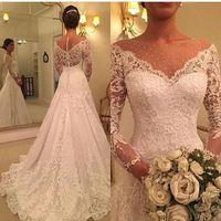 Mangas largas Sirena Apliques de encaje Vestidos de novia 2020 Vestidos nupciales Botón con cremallera Robe de Mariee Vestidos de Mariage