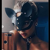 Women Sexy Mask Half Eyes Cosplay Face Cat Leather Mask Cosp...