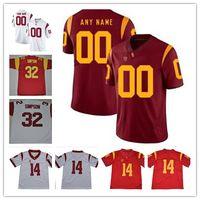 Custom USC Trojans 2019 Futebol Qualquer Número Número Vermelho Branco 32 Oj Simpson 9 Juju Smith-Schuster 18 Jt Daniels Seau Bush Ncaa College Jersey