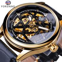Forsining Mode Rétro or cadran noir Seleton horloge Homme lumineux mains Montres poignet mécanique hommes Top Marque de luxe
