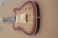 libre de la guitarra del envío TL, burl de arce guitarra chapa, cuerpo de tilo, mástil de arce, P90 recogida, el hardware de oro, palisandro con incrustaciones de concha