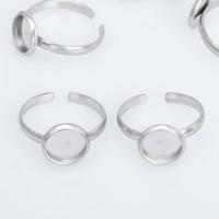 Stal nierdzewna Regulowane Ring Ring Ring Pierścionek Puste Dopasuj 8/10 / 12mm Okrągłe Wyniki pierścieni Cabochon 10 sztuk