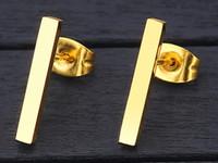 패션 골드 실버 도금 블랙 펑크 간단한 T 바 귀걸이에 대한 여성의 귀 스터드 라인 귀걸이 파인 쥬얼리 미니멀 귀걸이 DHL 도금
