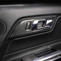 Porte intérieur de la fibre de carbone Poignées de porte Bol de porte Couverture décorative Sticker Sticker Cylisme pour Ford Mustang 2015-2019 Accessoires auto