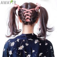 AWAYT Bow Velvet Ribbon Hair Ring Fashion Girl Hair Band Str...