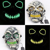 Gratis DHL EL Wire Halloween Skull Mask LED Party Masquerade Masks Horror Full Face Mask Festival Cosplay Suministros para disfraces Glow In Dark M552F