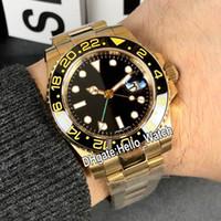 Nouveau GMT II cadran noir 116718 116718-LN-78208 automatique Mens Watch vert Second18K Bracelet or jaune Acier wathces Sapphire Hello_Watch