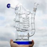 Double Recycler Glass Bong 11. 0 inches tall Water Pipe Dab O...