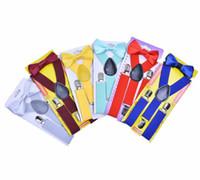 Venta caliente Kids Suspenders Lazo de lazo Set para 1-10T Niños Braces Elastic Y-Back Boys Girls Suspenders Accesorios 23 Colores Envío rápido