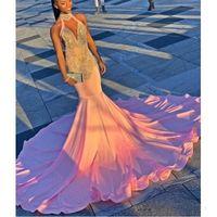 Черные девушки Холтер платья выпускного вечера длинные бусины блестки спинки коктейльное платье атласные африканские женщины вечерние платья халат