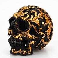 Mini Altın Desen Ölülerin Günü Temalı Kafatası Heykeli Heykelcik Vintage Reçine Altın Desen Kafatası Süsler Figürinler Cadılar Bayramı Kafatası Minyatür