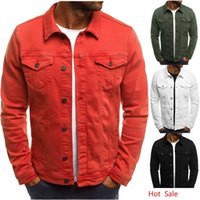 Solid Mens Jackets 5 Colors Turn Down Neck Jacket Slim Fit C...