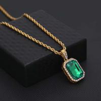 ледяной драгоценный камень кулон ожерелья для мужчин женщин роскошный дизайнер хип-хоп красочные драгоценный камень bling алмазный кулон рубиновый зеленый синий черный ожерелье