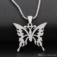 10pcs stainless steel hollow butterfly charm necklace animal...